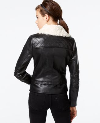 GUESS Faux-Fur-Collar Faux-Leather Jacket - Coats - Women - Macy's