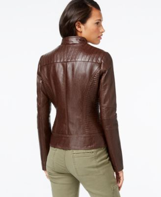 GUESS Quilted-Detail Faux-Leather Moto Jacket - Coats - Women - Macy's