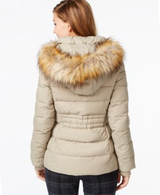 Faux fur hooded down coat
