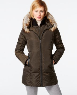 MICHAEL Michael Kors Faux-Fur-Trim Down Coat - Coats - Women - Macy's