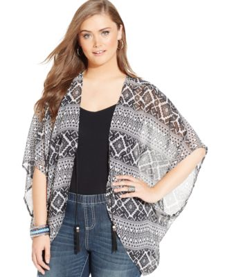 Eyeshadow Plus Size Geo-Print Kimono Cardigan - Tops - Plus Sizes ...