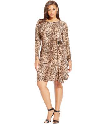 MICHAEL Michael Kors Plus Size Animal-Print Faux-Wrap Dress ...