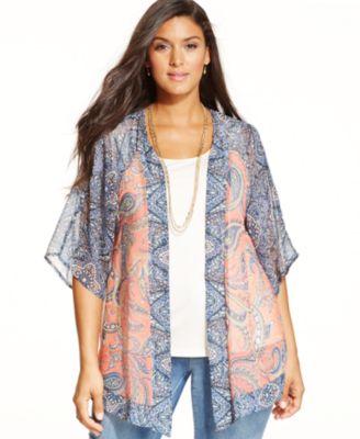 style & co. plus size animal-print kimono, only at macy's - tops