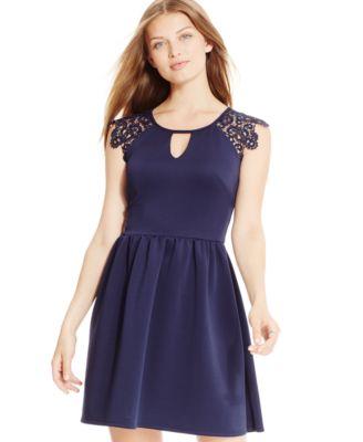 Bcx Juniors Belted Colorblocked Dress Dresses Juniors