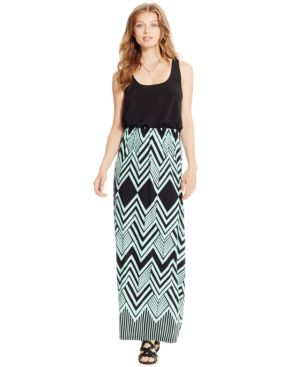 Trixxi Juniors' Printed Blouson Maxi Dress