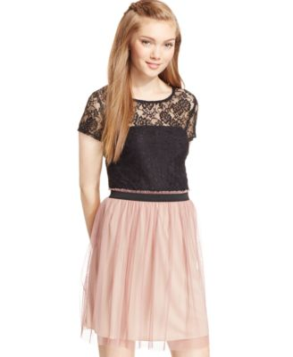 Speechless Juniors Lace Striped Pleated Dress Dresses