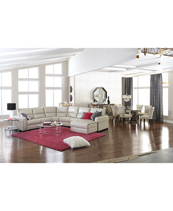 Jessi Leather Power Sectional Sofa Living Room Furniture ...