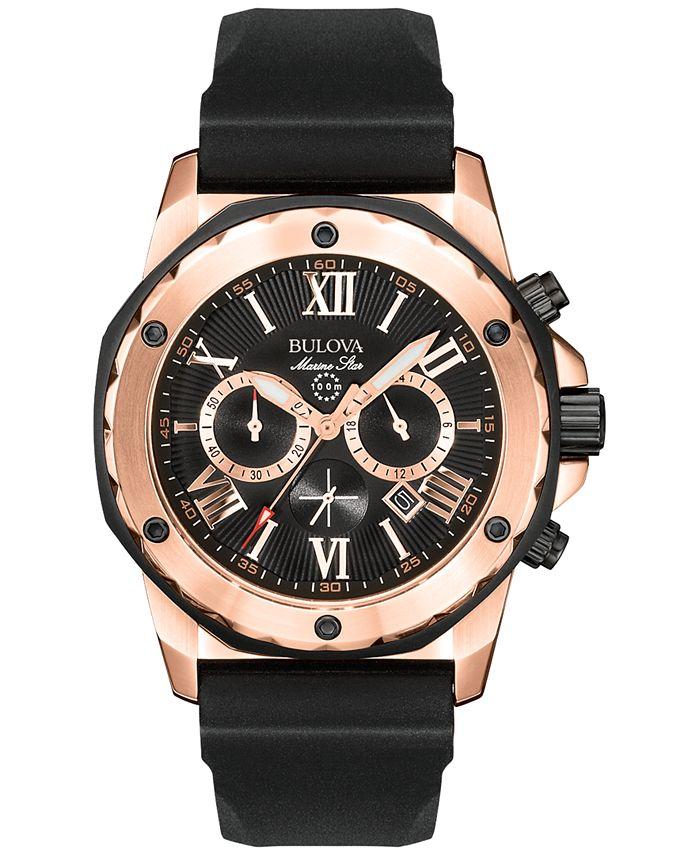 Bulova - Men's Chronograph Black Rubber Strap Watch 44mm 98B104