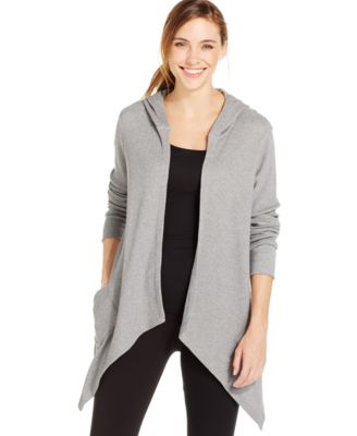 Style & Co. Sport Petite Hooded Cascade Cardigan, Only at Macy's ...
