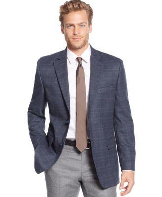 Tallia Big &amp Tall Grey &amp Pink Windowpane Slim-Fit Sport Coat