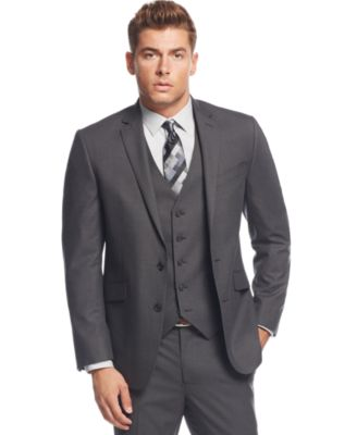 Kenneth Cole Reaction Grey Tonal Shadow Check Slim-Fit Vested Suit