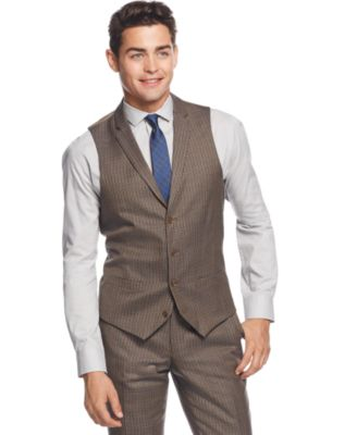 Bar Iii Olive Multi Check Slim Fit Vest Only At Macy S