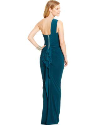 Xscape Ruffle-Back One-Shoulder Gown - Dresses - Women - Macy&39s