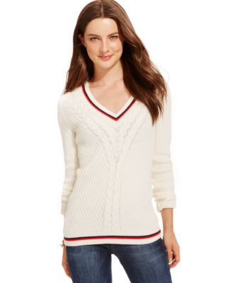 Tommy Hilfiger Cable-Knit V-Neck Sweater - Sweaters - Women - Macy's