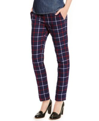 Tommy Hilfiger Straight-Leg Ankle Pants, Plaid - Pants - Women ...