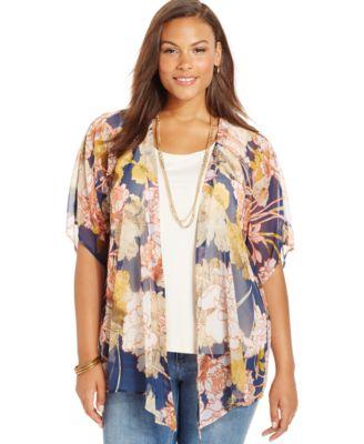Eyeshadow Plus Size Geo-Print Kimono Cardigan - Tops - Plus Sizes ...