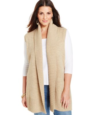 Style & Co. Shawl-Collar Open Sweater Vest, Only at Macy's ...