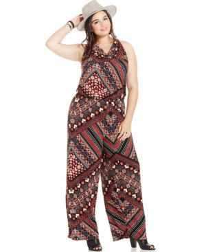 Harper and Liv Plus Size Cowl-Neck Printed Jumpsuit
