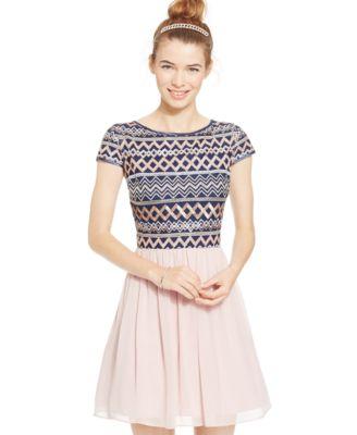 B Darlin Juniors' Chevron Sequin Fit-and-Flare Dress - Dresses ...