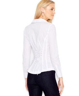 GUESS Long-Sleeve Lace-Up Shirt - Tops - Women - Macy's