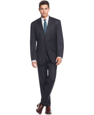 DKNY Slim-Fit Blue Pinstripe Suit - Suits & Suit Separates - Men ...