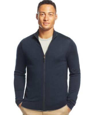 Michael Kors Full-Zip Merino Wool Sweater - Sweaters - Men - Macy's