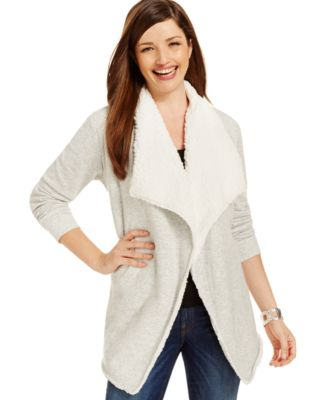Style & Co. Sport Faux Sherpa Draped Cardigan, Only at Macy's ...