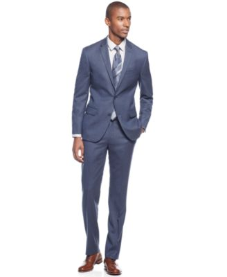 DKNY Blue Flannel Slim-Fit Suit - Suits & Suit Separates - Men ...