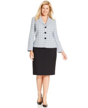 Le Suit Plus Size Three-Button Tweed Jacket Skirt Suit