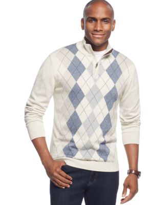 Tasso Elba Full-Zip Argyle Sweater - Sweaters - Men - Macy's