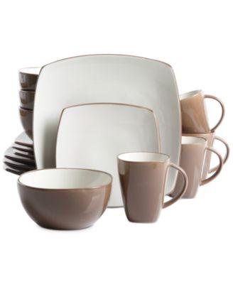 gibson soho lounge 16pc brown dinnerware set