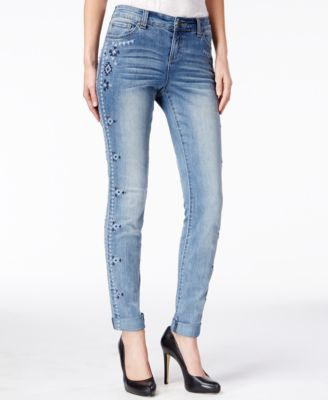 INC International Concepts Embroidered Skinny Jeans, Mid-Indigo ...