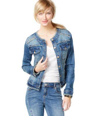 INC International Concepts Frayed Denim Jacket, Mid-Indigo Wash ...