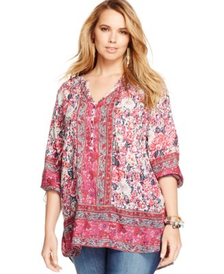 lucky brand plus size paisley-print blouse - tops - plus sizes