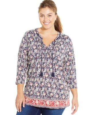 lucky brand plus size geo-print blouse - tops - plus sizes - macy's