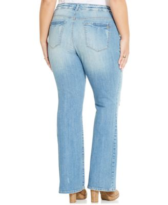 Jessica Simpson Plus Size Ripped Bootcut Jeans, Jonquil Wash ...