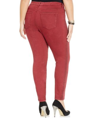 Jessica Simpson Plus Size Colored Skinny Jeans Cabernet Wash