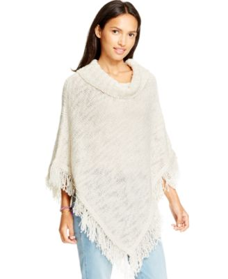 American Rag Fringed Cowl-Neck Sweater Poncho, Only at Macy's ...