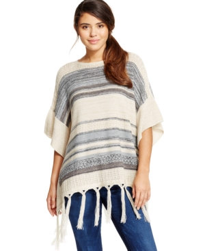 American Rag Mixed-Knit Sweater Poncho, Only at Macy's