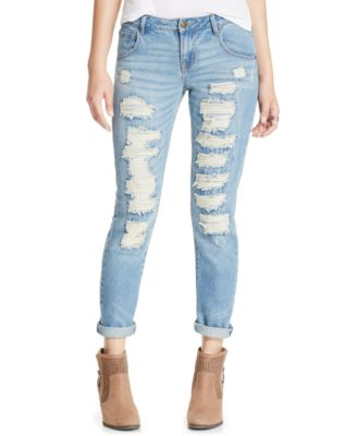 Tinseltown Juniors' Ripped Raw-Edge Skinny Jeans - Jeans - Juniors ...