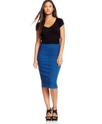 Marilyn Monroe Juniors' Zipper-Front Denim Pencil Skirt - Skirts ...