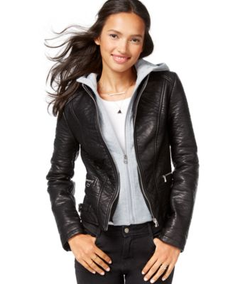 Wildflower Faux-Leather Layered Hoodie Jacket - Jackets & Blazers ...