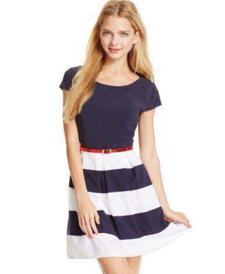 B Darlin Juniors' Pleated Striped-Skirt Dress - Dresses - Juniors ...