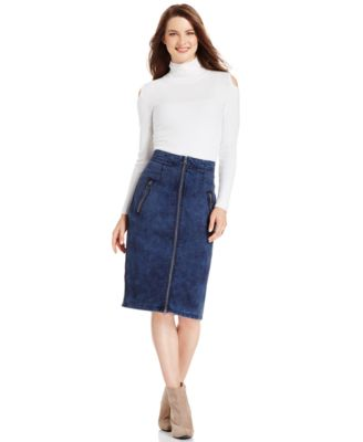 DKNY Jeans Zip-Front Denim Pencil Skirt, Kurt Wash - Skirts ...
