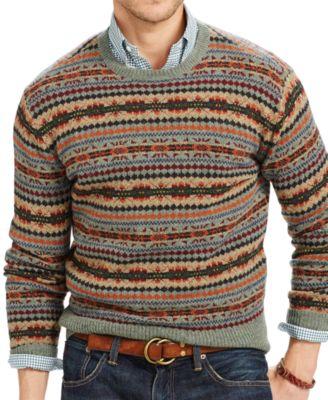 Polo Ralph Lauren Fair Isle Wool Sweater - Sweaters - Men - Macy's