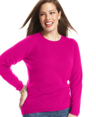 Charter Club Plus Size Cashmere Crew-Neck Sweater In 14 Colors ...