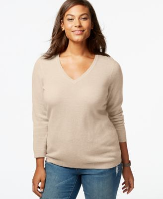 Charter Club Plus Size Cashmere V-Neck Sweater In 16 Colors, Only ...