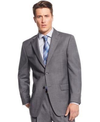 Jones New York Medium Grey Sharkskin Classic-Fit Suit - Suits ...