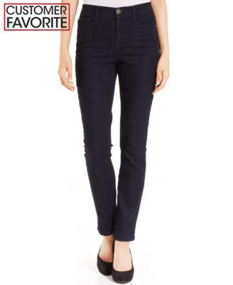 Style & Co. Petite Jeans, Tummy Control Slim Leg, Black Blue Wash ...