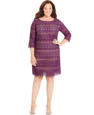 jessica howard plus size illusion lace shift - dresses - women